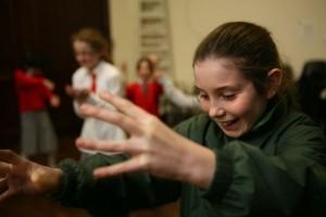 Primary school children in a workshop
