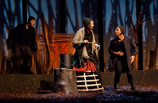 Shane O' Reilly (Crow), Fiona McGeown (Old Woman), Paul Curley (Boy). Photo: Dylan Vaughan