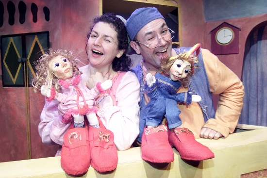 Old Woman (Roisín Gribben) and Old Man (John M. Ryan) with the Elves